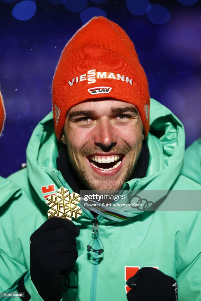 Johannes Rydzek of Germany wins the gold medal during the FIS Nordic World Ski Championships Men's Nordic Combined HS100/10k on February 24, 2017 in Lahti, Finland.