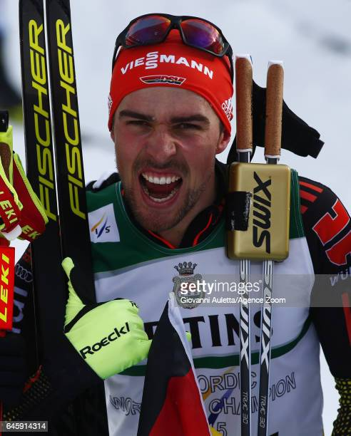 Johannes Rydzek of Germany wins the gold medal during the FIS Nordic World Ski Championships Men's Nordic Combined HS100/10k on February 24 2017 in...