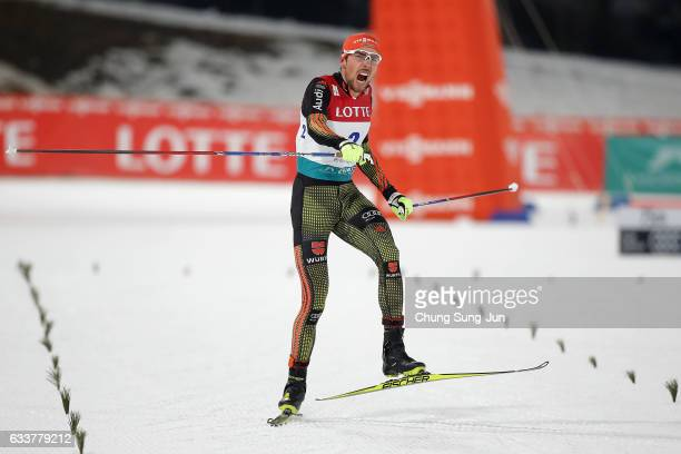 Johannes Rydzek of Germany wins the Individual Gundersen 10km Large Hill during the FIS Nordic Combined World Cup presented by Viessmann Test Event...
