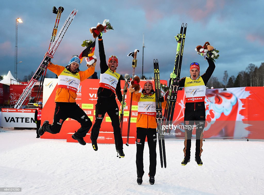 Johannes Rydzek (2ndL), Tino Edelmann (L), Eric Frenzel and Fabian Riessle (R) of Germany celebrate winning the gold medal in the Nordic Combined 4 x 5km Cross-Country team event during the FIS Nordic World Ski Championships at the Lugnet venue on February 22, 2015 in Falun, Sweden.