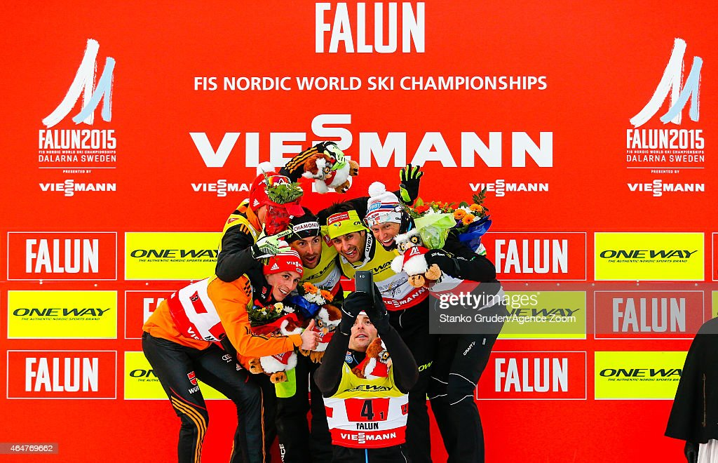 Johannes Rydzek,Eric Frenzel of Germany takes 2nd place, Francois Braud, Jason Lamy Chappuis of France takes 1st place, Magnus Hovdal Moan, Havard Klemetsen of Norway takes 3rd place during the FIS Nordic World Ski Championships Men's Nordic Combined Team Sprint on February 28, 2015 in Falun, Sweden.