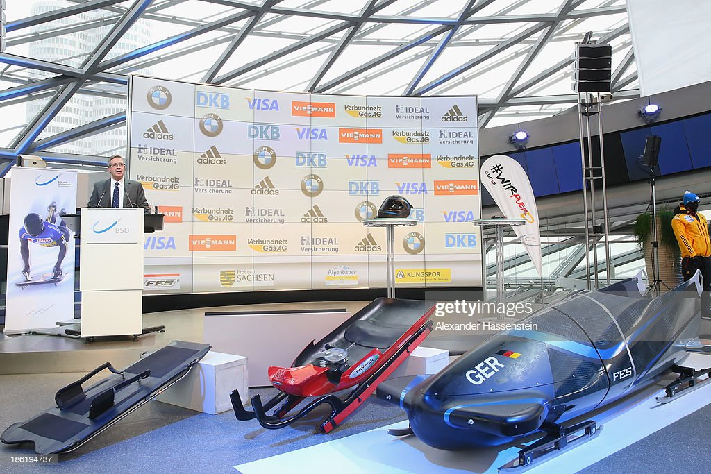 Johannes Seibert, head of BMW marketing Germany speaks during the season opening press conference of the German Bobsleigh and Skeleton federation at BMW Welt on October 29, 2013 in Munich, Germany.