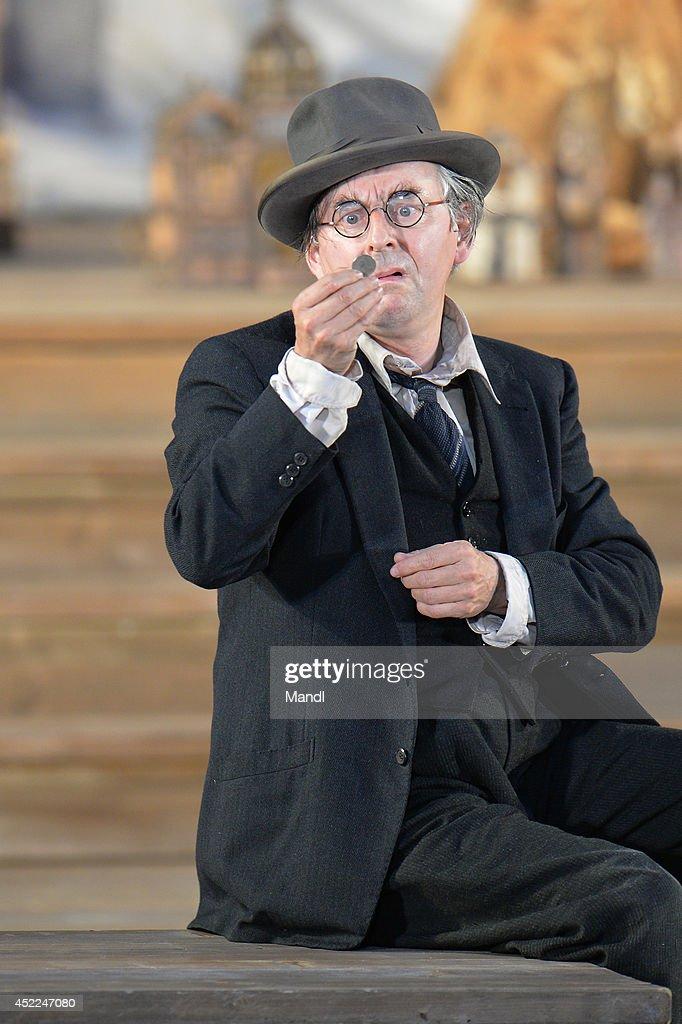 Johannes Silberschneider (The Poor Neighbour) is seen during the photo rehearsal of 'Jedermann' (Everyman) on the Domplatz ahead of Salzburg Festival 2014 on July 16, 2014 in Salzburg, Austria.