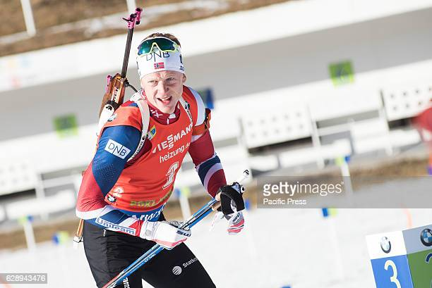 Johannes Thingnes Bø of Norway on the shooting range during men 125 km pursuit at Biathlon World Cup race in Pokljuka