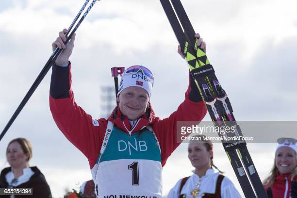 Johannes Thingnes Boe of Norway celebrate during the 15 km men's Mass Start on March 18 2017 in Oslo Norway