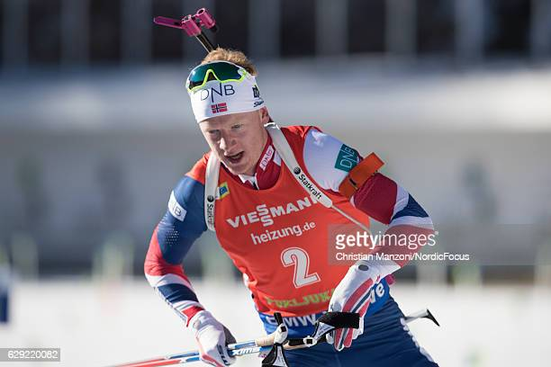 Johannes Thingnes Boe of Norway competes during the 125 km men's Pursuit on December 10 2016 in Pokljuka Slovenia