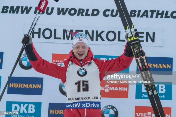Johannes Thingnes Boe of Norway competes during the 125 km men's Pursuit on March 17 2017 in Oslo Norway
