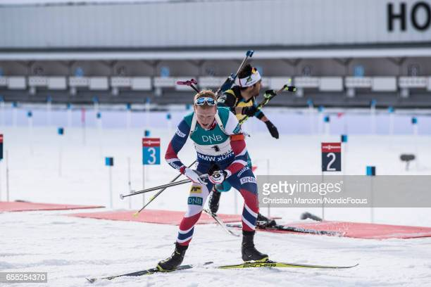 Johannes Thingnes Boe of Norway competes during the 15 km men's Mass Start on March 18 2017 in Oslo Norway
