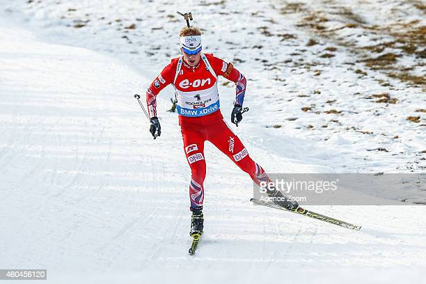 Johannes Thingnes Boe of Norway competes during the IBU Biathlon World Cup Men's and Women's Pursuit on December 14 2014 in Hochfilzen Austria