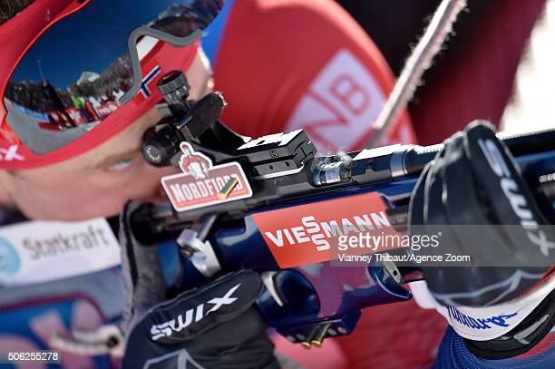 Johannes Thingnes Boe of Norway competes during the IBU Biathlon World Cup Men's Sprint on January 22 2016 in AntholzAnterselva Italy