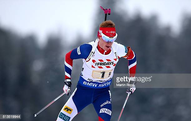 Johannes Thingnes Boe of Norway competes during the IBU Biathlon World Championships Mixed Relay at Holmenkollen on March 3 2016 in Oslo Norway