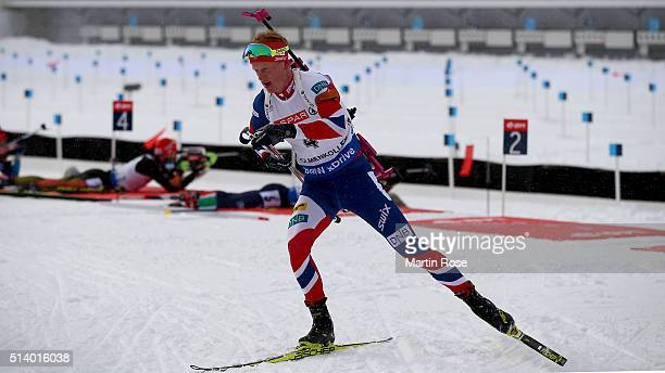 Johannes Thingnes Boe of Norway competes in the men's 125km pursuit during day four of the IBU Biathlon World Championships at Holmenkollen on March...