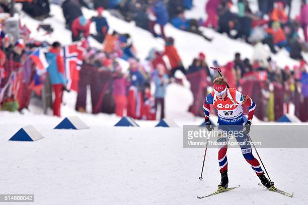 Johannes Thingnes Boe of Norway during the IBU Biathlon World Championships Men's 20km Individual on March 10 2016 in Oslo Norway
