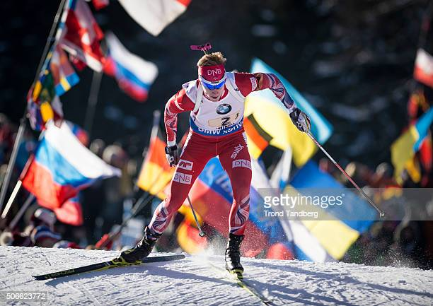 Johannes Thingnes Boe of Norway in action during the Biathlon Men 4x75 km Relay at the IBU Biathlon World Cup Antholtz on January 24 2016 in Antholtz...