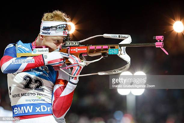Johannes Thingnes Boe of Norway in action during the IBU Biathlon World Cup Men's Sprint on December 15 2016 in Nove Mesto na Morave Czech Republic