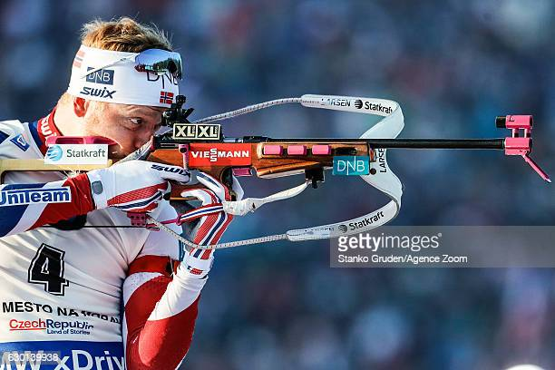 Johannes Thingnes Boe of Norway in action during the IBU Biathlon World Cup Men's and Women's Pursuit on December 17 2017 in Nove Mesto na Morave...