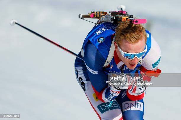 Johannes Thingnes Boe of Norway in action during the IBU Biathlon World Championships Men's Individual on February 16 2017 in Hochfilzen Austria
