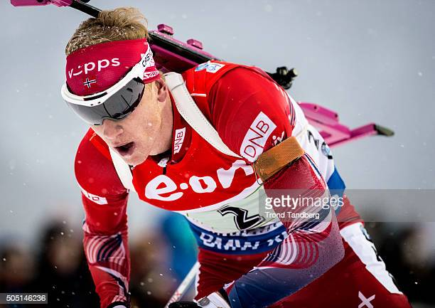 Johannes Thingnes Boe of Norway in action during the Men's 4 x 75 km relay Biathlon race at the IBU Biathlon World Cup Ruhpolding on January 15 2016...