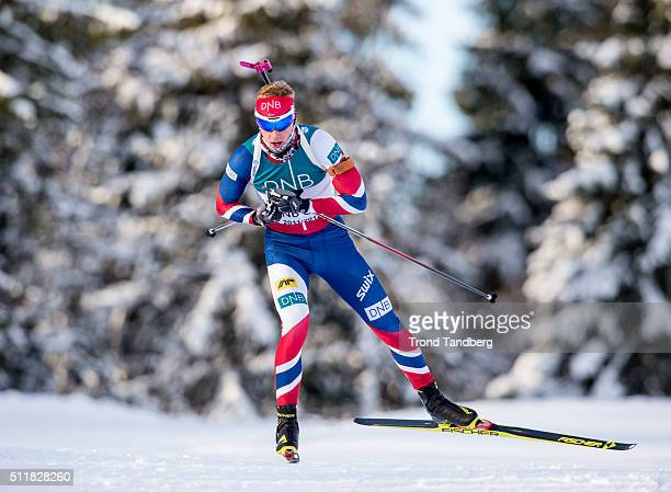 Johannes Thingnes Boe of Norway in action during training at Norwegian Biathlon Team World Championship Pree Camp on February 23 2016 in Beitostoelen...