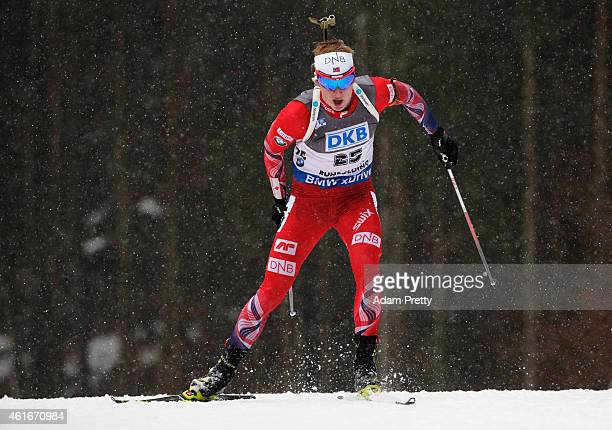 Johannes Thingnes Boe of Norway on his way to first place during the IBU Biathlon World Cup Men's Sprint on January 17 2015 in Ruhpolding Germany