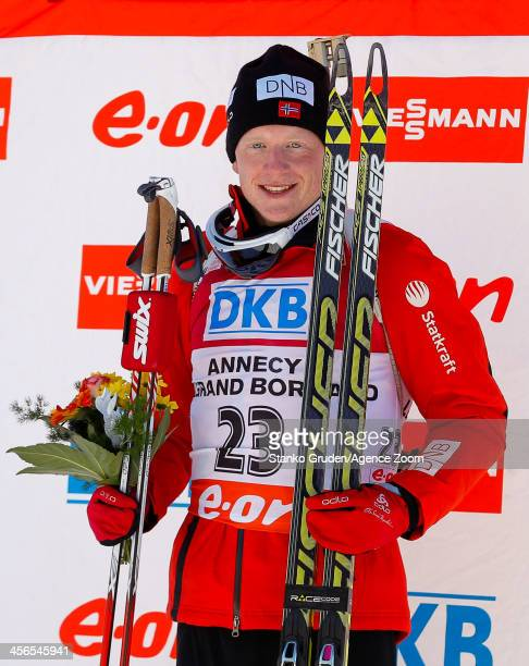 Johannes Thingnes Boe of Norway takes 1st place during the IBU Biathlon World Cup Men's Sprint on December 14 2013 in AnnecyLe Grand Bornand France