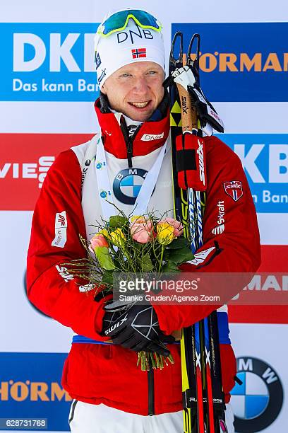 Johannes Thingnes Boe of Norway takes 2nd place during the IBU Biathlon World Cup Men's and Women's Sprint on December 09 2016 in Pokljuka Slovenia