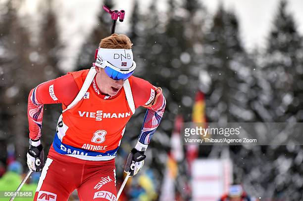 Johannes Thingnes Boe of Norway takes 3rd place during the IBU Biathlon World Cup Men's and Women's Pursuit on January 23 2016 in AntholzAnterselva...