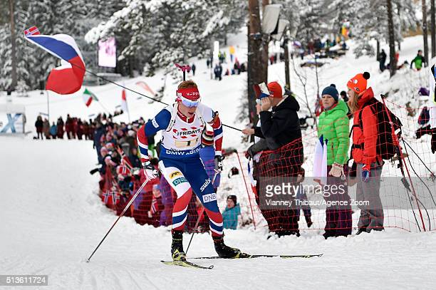 Johannes Thingnes Boe of Norway wins the bronze medal during the IBU Biathlon World Championships Mixed Relay on March 3 2016 in Oslo Norway