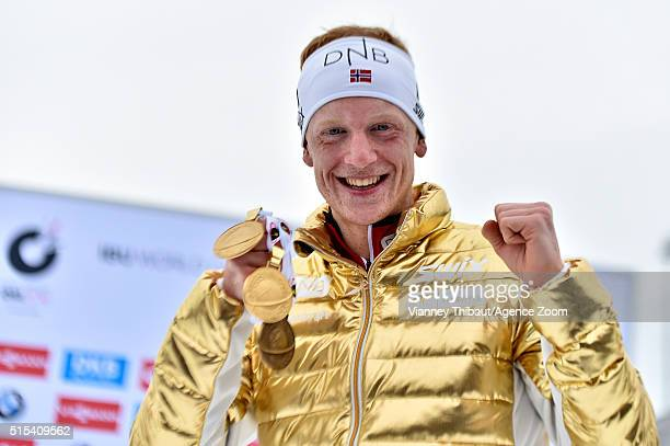 Johannes Thingnes Boe of Norway wins the gold medal during the IBU Biathlon World Championships Men's and Women's Mass Start on March 13 2016 in Oslo...