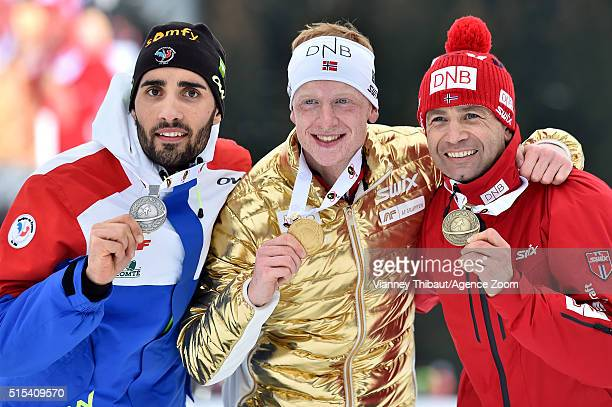 Johannes Thingnes Boe of Norway wins the gold medal Martin Fourcade of france wins the silver medal Ole Einar Bjoerndalen of Norway wins the bronze...