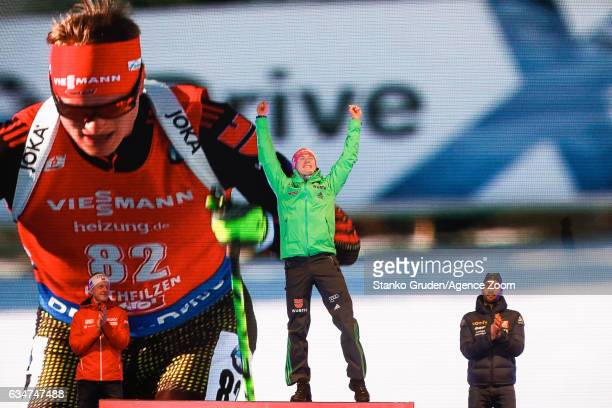 Johannes Thingnes Boe of Norway wins the silver medal Benedikt Doll of Germany wins the gold medal Martin Fourcade of France wins the bronze medal...