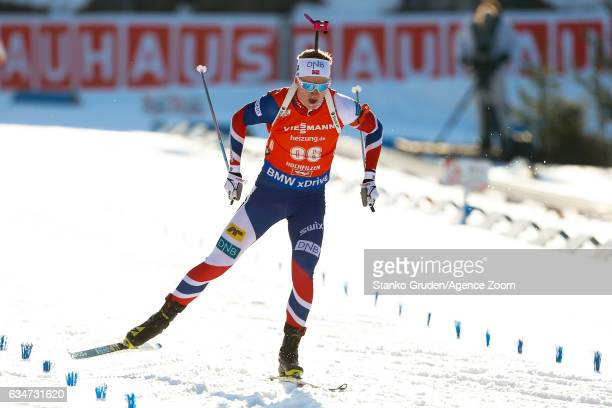 Johannes Thingnes Boe of Norway wins the silver medal during the IBU Biathlon World Championships Men's Sprint on February 11 2017 in Hochfilzen...