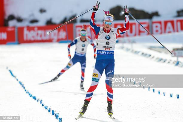 Johannes Thingnes Boe of Norway wins the silver medal during the IBU Biathlon World Championships Men's and Women's Pursuit on February 12 2017 in...