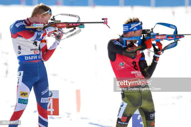 Johannes Thingnes Boe of Norway wins the silver medal during the IBU Biathlon World Championships Men's and Women's Mass Start on February 19 2017 in...