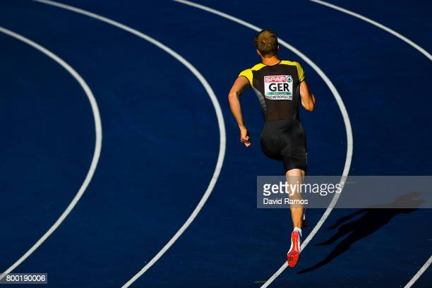 Johannes Trefz of Germany competes in the Men's 400m heat 1 during day 1 of the European Athletics Team Championships at the Lille Metropole stadium...
