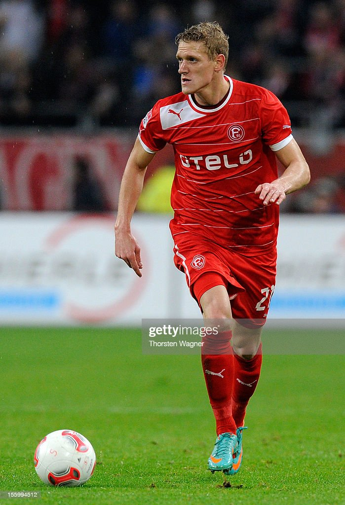 Johannes van den Bergh of Duesseldorf runs with the ball during the Bundesliga march between Fortuna Duesseldorf and TSG 1899 Hoffenheim at Esprit-Arena on November 10, 2012 in Duesseldorf, Germany.