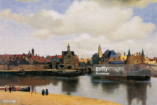 Johannes Vermeer's View of the city of delft with waterway 1655