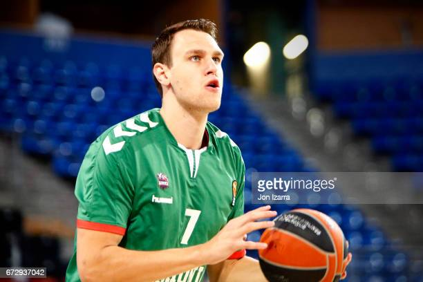 Johannes Voigtmann #7 of Baskonia Vitoria Gasteiz warms up during the 2016/2017 Turkish Airlines EuroLeague Playoffs leg 3 game between Baskonia...