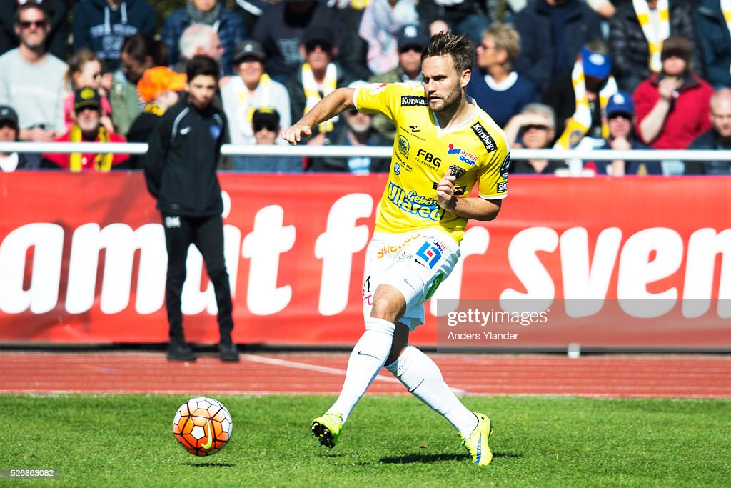 Johannes Wall of Falkenberg controls the ball during the Allsvenskan match between Falkenbergs FF and IF Elfsborg at Falkenbergs IP on May 1, 2016 in Falkenberg, Sweden.