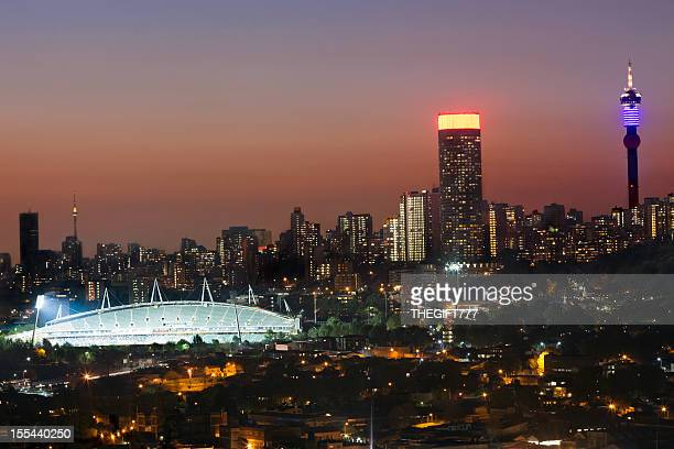 Johannesburg City and Stadium in the evening