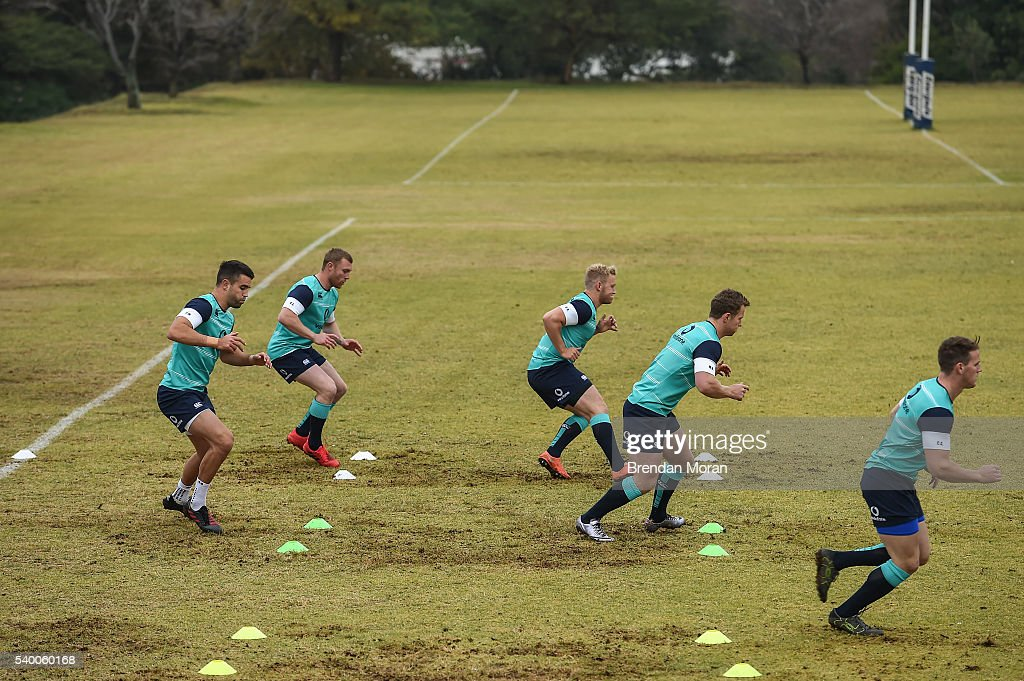 Johannesburg South Africa 14 June 2016 Ireland players from left Conor Murray Keith Earls Stuart Olding Matt Healy and Craig Gilroy during squad...