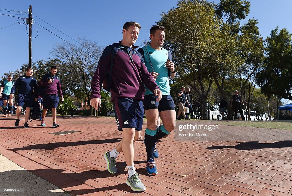 Johannesburg South Africa 16 June 2016 Craig Gilroy second from right and CJ Stander right of Ireland arrive for squad training at St David Marist...