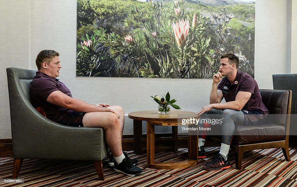 Johannesburg South Africa 16 June 2016 Tadhg Furong left and Craig Gilroy of Ireland wait their turn at a press conference at the Sandton Sun Hotel...