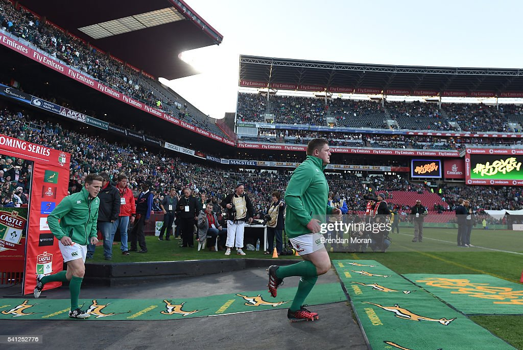 Johannesburg SOUTH AFRICA 18 June 2016 Craig Gilroy left and Tadhg Furlong of Ireland run onto the pitch before the Castle Lager Incoming Series 2nd...