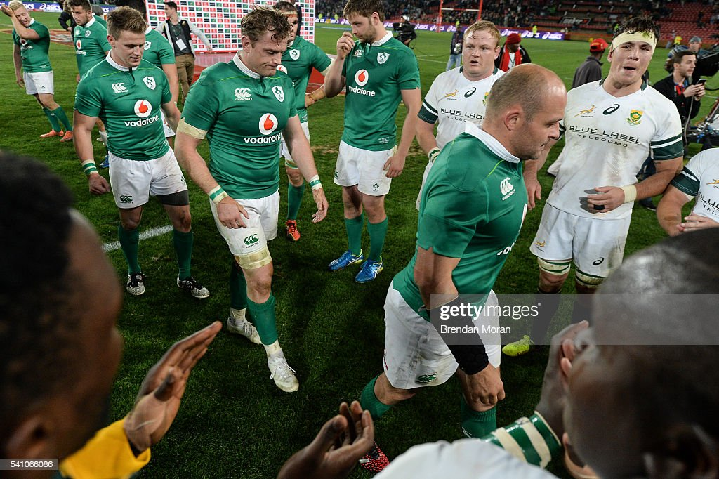 Johannesburg SOUTH AFRICA 18 June 2016 Ireland players including from left Craig Gilroy Jamie Heaslip and captain Rory Best are applauded from the...