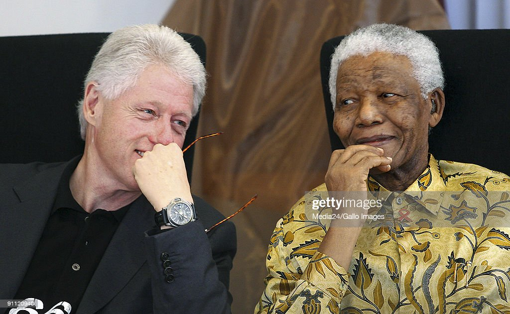 Johannesburg, South Africa. Former American president, Bill Clinton and former South African president, <a gi-track='captionPersonalityLinkClicked' href=/galleries/search?phrase=Nelson+Mandela&family=editorial&specificpeople=118613 ng-click='$event.stopPropagation()'>Nelson Mandela</a>, sharing a few relaxed moments at a function at the Walter Sisulu Paediatric Cardiac Center for Africa at Sunninghill Hospital.