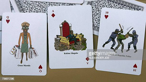 This picture taken 21 March 2007 in Johannesburg shows a satirical playing cards circulated by Zimbabwe activists with Zimbabwe President Robert...