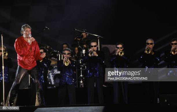 Johhny Hallyday en concert au Parc des Princes a l'occasion de ses 50 ans le 18 juin 1993 a Paris France