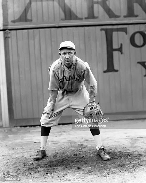 John A Billings of the St Louis Browns in position to catch a ball in 1922