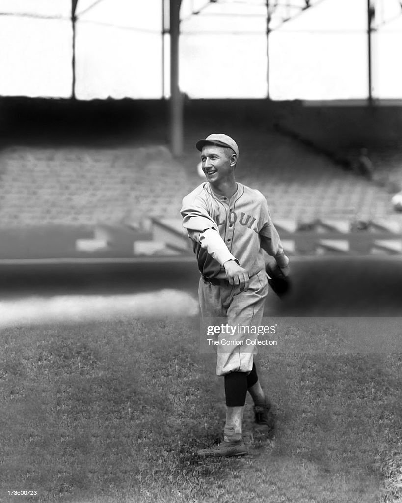 John A Billings of the St Louis Browns throwing a ball in 1919